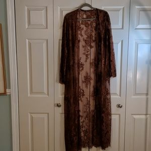 Romantic brown lace duster plus size 2x fits 16